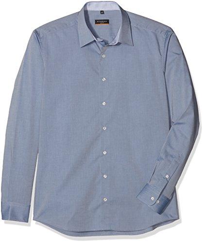 Slim Fit Langarm blau uni mit Basic Kent-Kragen Blau (blau 14)