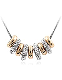 Silver Shoppee Circles Of Hope 18K Yellow Gold, Rhodium Plated Cubic Zirconia Alloy Pendant For Girls And Women