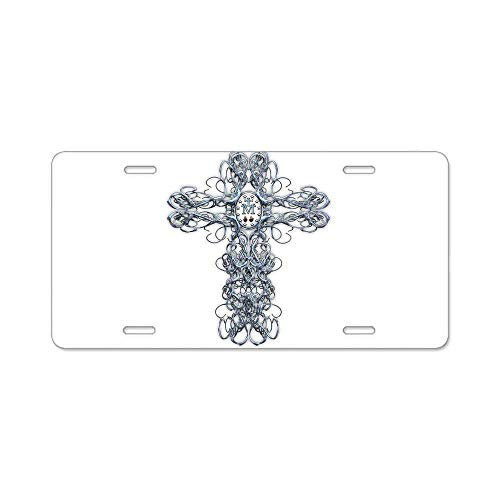 Preisvergleich Produktbild Wire Cross with Miraculous Medal Custom Personalized Aluminum Metal Novelty License Plate Cover Front Auto Car Accessories Vanity Tag- 6x12 Inches