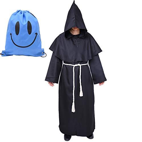 Kostüm Mit Schwarzer Umhang Kapuze - Mönch Robe Kostüm Mönch Priester Gewand Kostüm mit Kapuze Mittelalterliche Kapuze Herren Mönchskutte (X-Large, Schwarz)