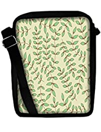 Snoogg Green Leaves Sling Bags Crossbody Backpack Chest Day Pack Travel Bag Book Bag For Men & Women