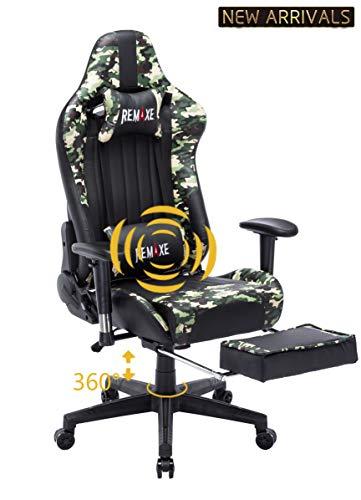 Computer Spielstuhl mit Fußstütze - Einstellbare Drehenende zum Haus Office Liegestuhl mit Hohen Rücken Kopfstütze und Taille-Massage Unterstützung Lehnstuhl für PC(Schwarz & Camo) Taille Camo