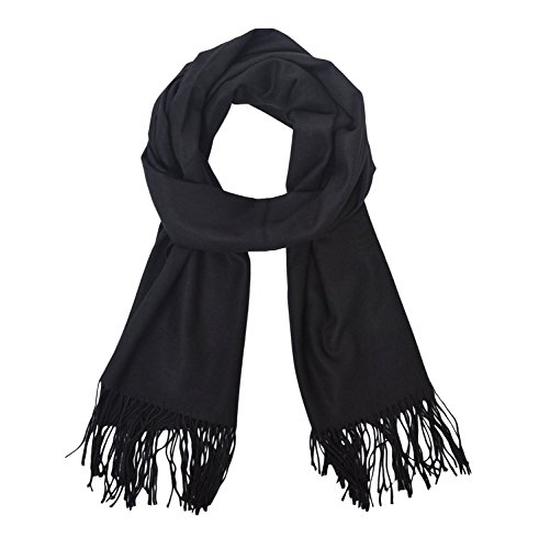 Cozy sólido color mantón Bufanda para mujer Bufanda de moda pañuelo para mujer Pañuelo de moda (negro)