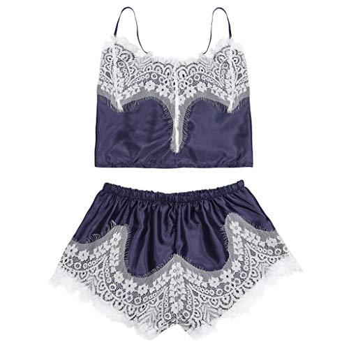 Amphia - Damen Schlafanzug - Kurzes Set - Frauen Sexy Satin Dessous Babydoll Unterwäsche Nachtwäsche One Piece Set