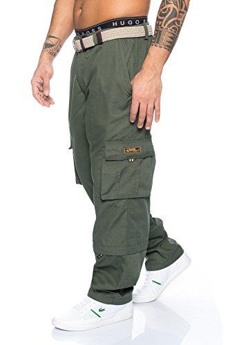Cargo Plus Größe Shorts (Herren Cargo Hose mit Dehnbund - mehrere Farben ID493, Größe:XXL;Farbe:Grün)