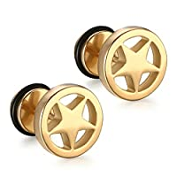 SanJiu Jewelry Men's Earrings Studs Set Round Circle Star Stainless Steel Earrings for Men Gold