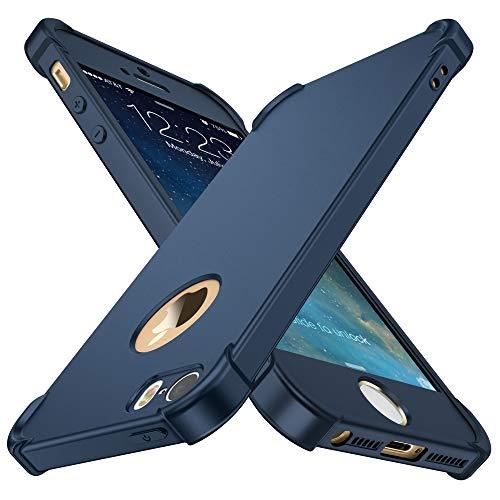 Coque iPhone 5/5S/SE,ORETech iPhone se/5s/5 Coque avec[2 x Protecteur D'écran en Verre Trempé] Housse Hybride Robuste 2 en 1 Antichoc Mince Anti-Rayures Dur PC+TPU pour iPhone Se Case 4'' Bleu