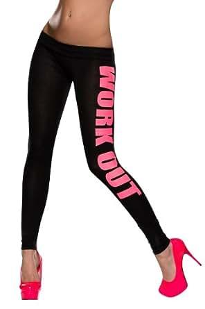 5982 Fashion4Young Damen Leggings aus feinem Stretch-Stoff Hose verfügbar in 2 Größen 3 Farben (S/M 36/38, Schwarz Neonrosa)