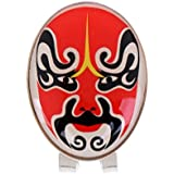 MagiDeal Mini Alloy Golf Ball Marker With Magnetic Golf Hat Clip Funny Chinese Peking Opera Mask Design - Premium Golf Gifts For Men And Women
