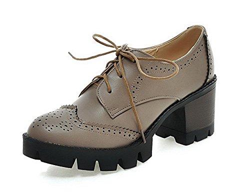VogueZone009 Femme à Talon Correct Couleur Unie Lacet Matière Souple Rond Chaussures Légeres Gris