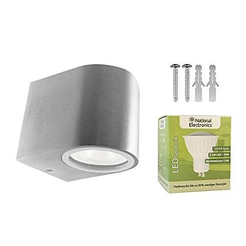 National Electronics 3.5W Downlight LED Außenleuchte Wandleuchte Wandlampe Aluminium New York 1-fach IP54 inkl. Leuchtmittel, warm-weiß, für Innen und Außen