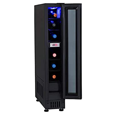 Unbranded 15cm / 150mm Black Under Counter LED 6 Bottle Wine Cooler Chiller