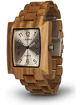 LAiMER Holzuhr LUCY - Damen Armbanduhr aus 100% Sandelholz für einzigartigen Tragekomfort und Lifestyle - natürlich...