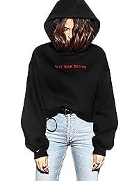 Schwarz Cropped Kapuzenpullover Damen Tumblr Lang Kapuzenpulli Sweatshirts Hoodie Frauen Oversize