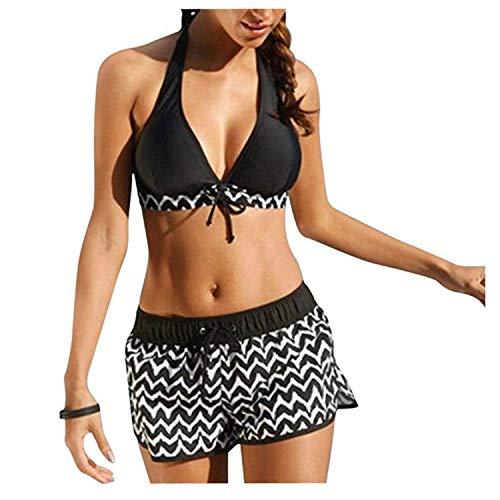 Bikini Set High Waist Damen Zweiteiliger Hohe Taille Halfter Bikinihose mit Langem Volant Flachwinkel-Wellpappendruck Hotpants Push Up BH Strand Bademode Elastizität S-2XL