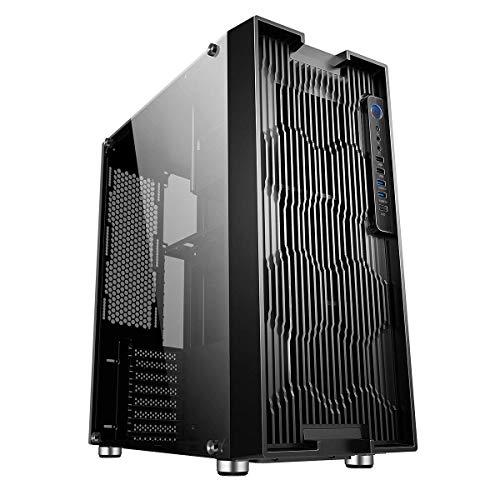 Game Max Fortress Air Full-Tower PC-Gaming-Gehäuse, E-ATX, 8 Lüfter, vollständig gehärtete Glas-Seitenteil inklusive, Wasserkühlung bereit, Schwarz -