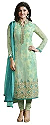 Clickedia Women's Pure Georgette Green Salwar Suit With Sleeve Work- Dress Material