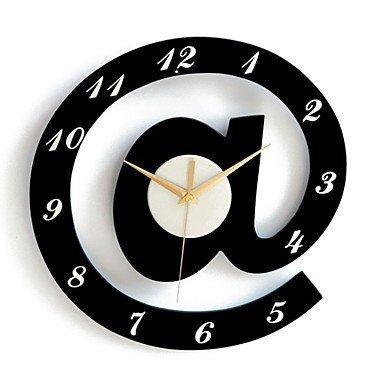 Elegante lettere decorative orologio da parete-bianco + nero (1xaa)