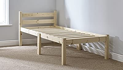 Single 3ft Wooden Pine Bed Frame - Can be used by Adults - Strong siderail support legs included - inexpensive UK light store.