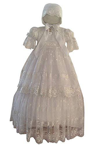 Taufe Motorhaube (Kengtong Baby Mädchen Lange Weiß Spitze Taufkleider Taufe Festlich Kleid mit Motorhaube (Elfenbein, 9-12Monate))