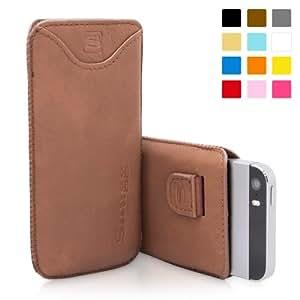 Housse iPhone 5 / 5s, Snugg™ - Pochette de Protection Marron avec Garantie à Vie pour Apple iPhone 5 et iPhone 5s