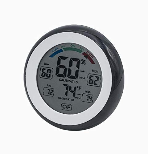 xiton Hygrometer mit Digitalthermometer Luftfeuchtigkeit und Temperatur-Überwachung. Aktive Farbe LCD
