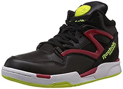 Reebok Classics Men's Pump Omni Lite Black, Excellent Red and Yellow Leather Basketball Shoes - 6 UK