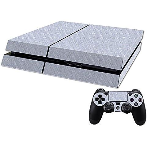 Pandaren® completos placas frontales Pegatinas de la piel para la consola PS4 x 1 y el mando x 2 (Partículas de carbono de plata) [Instrucción en las listas de