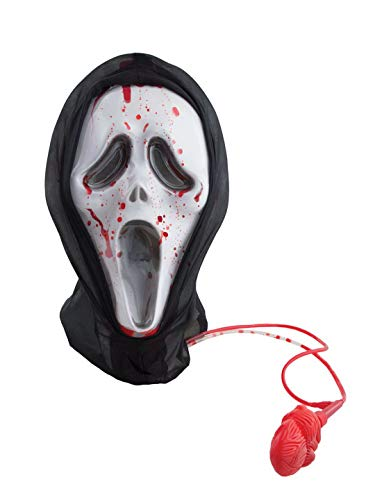 erdbeerclown - Kostüm Accessoires Zubehör Scream Maske mit Kapuze und Fake Blut, Mask with Hood and Liquid Blood, perfekt für Halloween Karneval und Fasching, Weiß (Maske Mit Blut Scream)