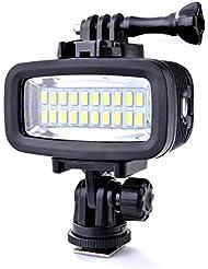 Sunix® 40 Meter wasserdichtes hohes Leistungs Tauch-Licht, dimmbares LED-Video POV Flash-Fill Licht, 6W 20 LEDs 700LM für GoPro Hero 3/4/5 Sport-Kameras DSLR