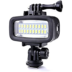 Sunix® Linterna de Mano Luz LED Regulable Tercera Persona para Buceo 40M Resistente al Agua Alta Energía, 20 LEDs 6W 700LM para Cámaras Deportivas DSLR GoPro Hero 3/4