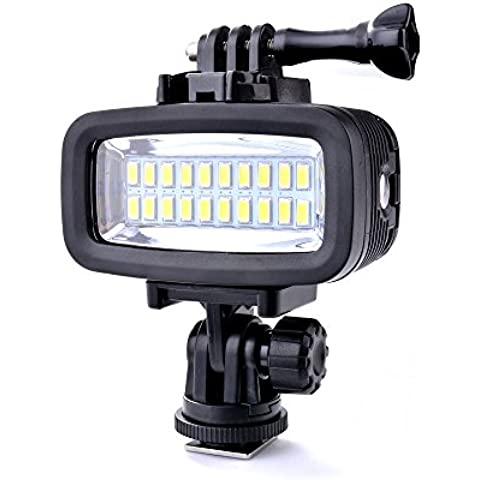 Sunix® 40M Luce impermeabile subacquea dimmerabile LED ad alta potenza Video POV Flash Inseribile, 6W 20 LED 700LM per GoPro Hero 3/4 Sport fotocamere