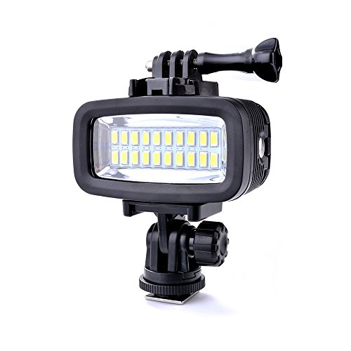 Sunix® 40 Meter wasserdichtes hohes Leistungs Tauch-Licht, dimmbares LED-Video POV Flash-Fill Licht, 6W 20 LEDs 700LM für GoPro Hero 3/4/5 Sport-Kameras DSLR