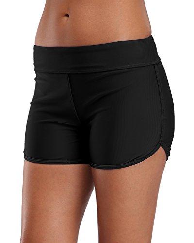 Sociala Damen Badehose Schwimmshorts Wassersport Bikinihose Beach Shorts Hotpants UV-Schutz Schwarz L