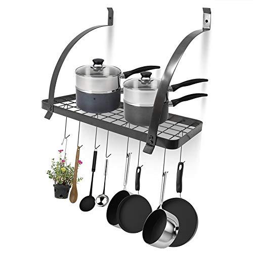 Wall Mounted Pot Rack Pan Holder Cookware Storage, Metal Hanging Pan Pot Rack with 10 Hooks Kitchen Organizer Shelf Hanger, Black