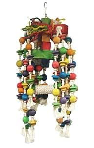 Liberta Jouet en corde, blocs et perles en bois avec balançoire Taille XL 72 cm