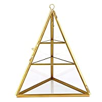 Sumnacon Jewelry Ring Display Holder Geometric Diamond Prism Glass Jewelry Box Stand Display case Gift Box Hanging Ring, Earrings Tetrahedron