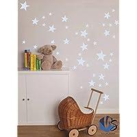 walldesticker set of 55 Mixed size Stars Wall Stickers Kid Decal Art Nursery Bedroom Vinyl Decoration (Light Blue)