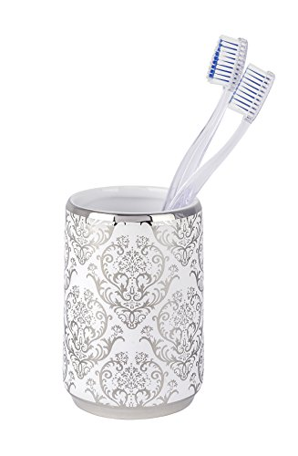 Wenko 22621100 Zahnputzbecher Barock - Zahnbürstenhalter, Keramik, 7,5 x 10,5 x 7.5 cm, weiß