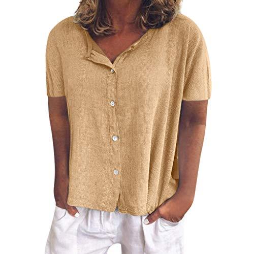 Oberteile Damen Sommer Elegant Kurzarmshirt Basic Beiläufige V-Ausschnitt Einfarbig Bluse Pullover T-Shirt (Gelb,S)