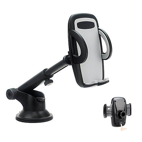 Charlemain supporto auto smartphone porta cellulare universale con rilascio automatico e ventosa fort per cruscotto parabrezza (nero)