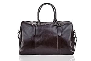 Solier hommes en cuir sac de voyage sac à bandoulière week-end sac de sport haut de gamme S16 (Noir) ft9ggPFJ