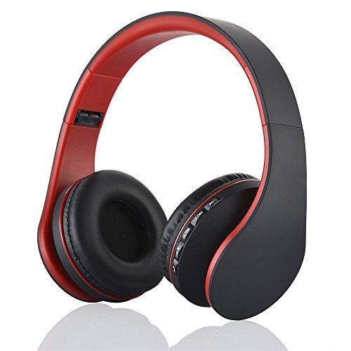 Bluetooth drahtlose Kopfhörer, EONSMN 4 in 1 Stereo Bluetooth faltbare Headsets mit Micro Support SD / TF Karte für Smart Phones Tablet PC Notebook (Red)