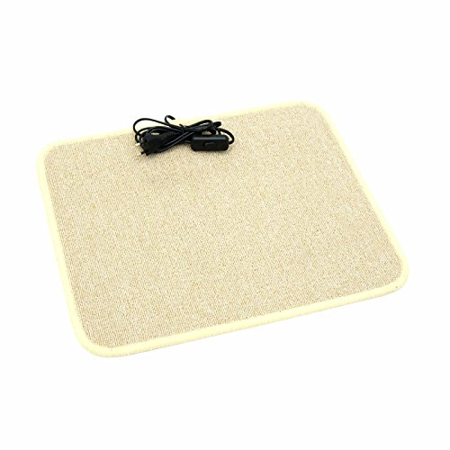Heizteppich 40x50cm Cream beheizbarer Teppich Schreibtischheizung Fußwärmer Infrarot Heizmatte