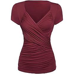 GAMISS Mujer Casual Blusa Camiseta Mangas Cortas Cuello en V para Mujer Top T-shirt Ropa Verano para Playa Deportiva Yoga Rojo Vino S