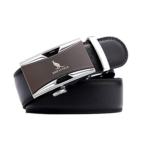 Men Belt SAN VITALE Men's Luxury Belts Wide Designer Fshion Casual Reversible Gold Buckle with Automatic Ratchet Leather Belts for Men 35mm Wide 1 3/8