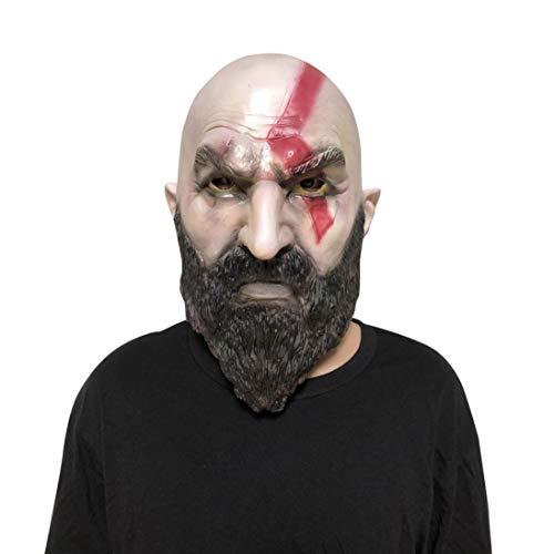 Kostüm Kratos - Huhu833 Halloween Maske, Cartoon Halloween Kostüm Party Requisiten Latex Vollkopfmaske Cosplay Kratos Maske