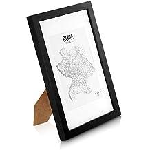 Marcos de Fotos A4 de MADERA SÓLIDA - para Foto / Certificado A4 – Paspartú para Foto 15x20 Incluida - Negro –  REBAJA –¡Anchura del marco 2cm!