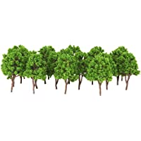 20pcs Modelo Árboles Plástico Decoración para Paisaje Ferroviario de Tren 7.5cm -Verde
