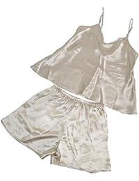 CHUNHUA La Sra 100% de la camisa del pijama de seda camisón femenino cortocircuitos piezas de chándal (color opcional) , 2002 (beige) , xxxl